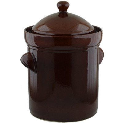 25L Fermenting Crock Pot (6.6 gal) Brown by Polmedia Polish Pottery