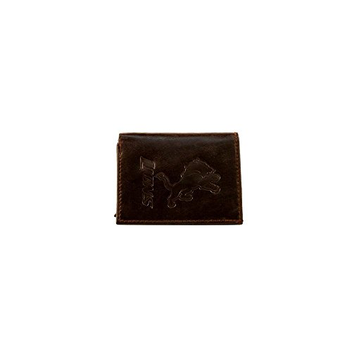 NFL Detroit Lions Tri-Fold Leather Wallet, Brown Lions Tri Fold