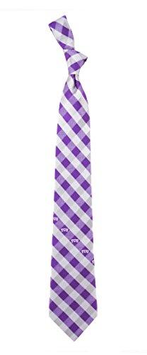 TCU Texas Christian Check Polyester Neck Tie with NCAA College Sports Team Logo