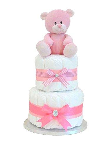 Pitter Patter Baby Gifts Signature Couches pour bébé à 2 niveaux en forme de gâteau Cadeau pour nouveau-né Rose