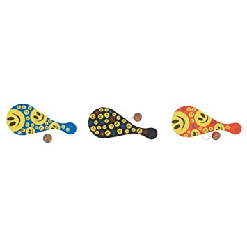 Amazon.com : 10 SMILE FACE PADDLE BALL Case Pack 60 : Toy ...