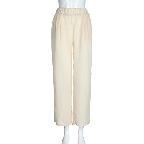 Long Large Femmes Droite WINWINTOM De Larges Sexy Pantalons Couleur Mousseline Casual Pantalon Taille Soie Beige Droite Jambes Leg Pantalon Unie LaChe tZqOwZT