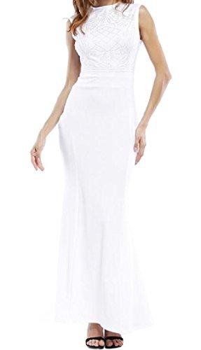 Sottile Moda donne fit A Colore Bianco Di Intera Coolred Figura Abito Trim Solido Di Casual Maniche THqZZIF