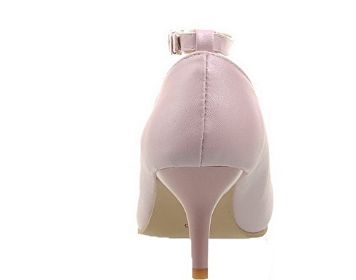 Shoes Buckle WeenFashion Heels Women's Pu High Closed Solid Toe Pointed Pumps Pink wqvSZqt