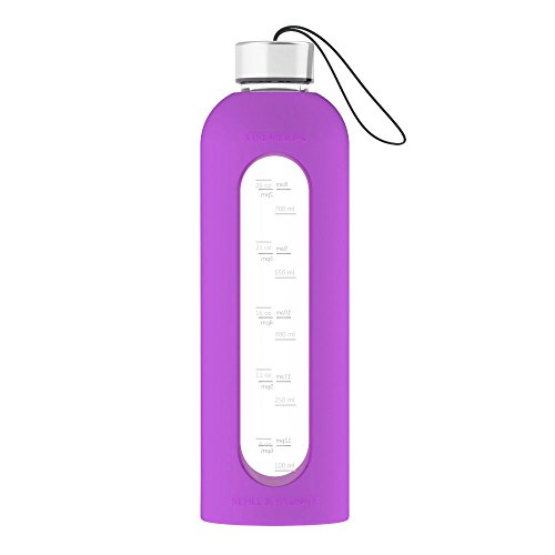 32 Oz Glass Water Bottle Leak Proof Time Marked Reusable Eco Friendly BPA Free Drink More Water Comes With Silicone Sleeve and 2 Stainless Steel Lids - ALL NEW Xtremeglas Hydrate (Purple)