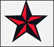 Amazoncom Red Black Nautical Star 15 Wide Temporary Tattoo