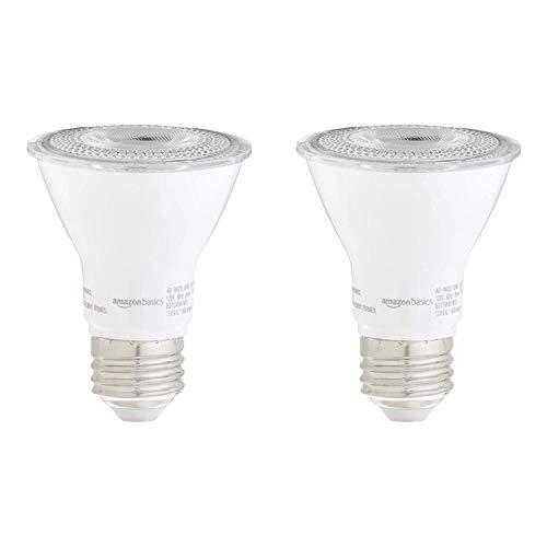 Amazon Basics 50W Equivalent, 3000K White, Dimmable, 10,000 Hour Lifetime, PAR20 LED Light Bulb | 2-Pack
