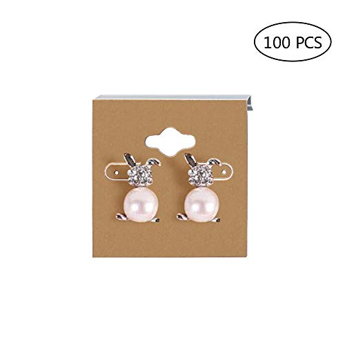 100 Pieces Kraft Paper Color Clamshell Hanging Brown Paper Earrings Display Card 2 x 2 inches