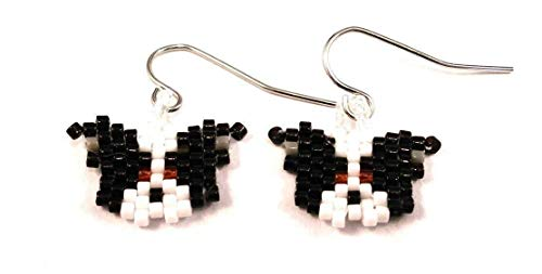 Black and White Border Collie Dog Sculptured Picture Seed Bead Dangle Earrings