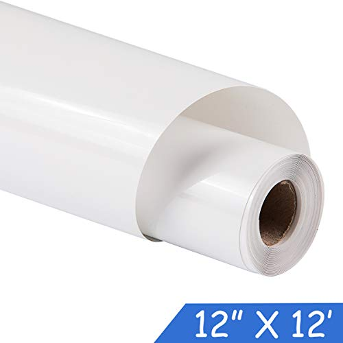 guangyintong Adhesive Heat Transfer Vinyl for T-Shirts 12 x 12ft Roll Glossy (K1-White)