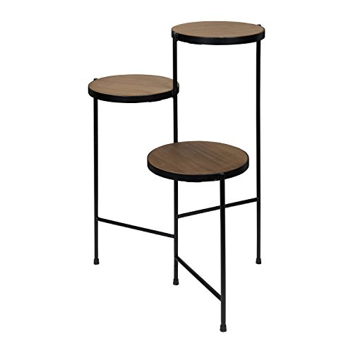 Kate and Laurel Fields Tri-Level Metal and Wood Plant Stand, Rustic Brown and Black