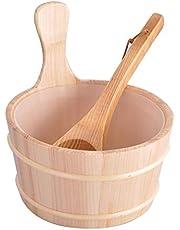 4l Sauna Wooden Bucket Pail Ladle, Sauna Bucket Spoon Set, Sauna Bucket with Long Handle Spoon Set for Sauna and Spa, Sauna Room Accessory