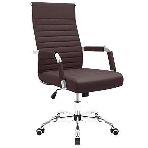 Furmax Ribbed Office Desk Chair Mid-Back Leather Executive Conference Task Chair Adjustable Swivel Chair with Arms (Brown) (Chairs Brown)
