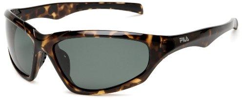 Fila SF011PN13 Polarized Sport Wrap Sunglasses,Havana Frame/Green Lens,One - Sunglasses Fila