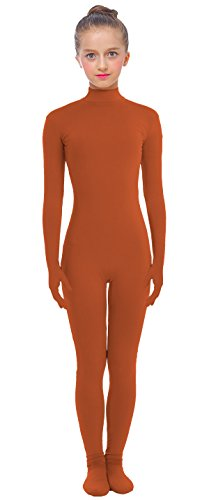 VSVO Kids Brown Lycra Unitard with Hand and Foot Catsuit Dancewear (Large, Brown) (Dance Revolution Dance Costumes)