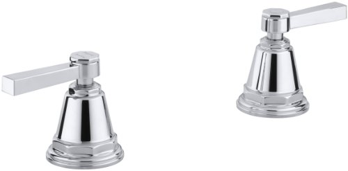KOHLER K-T13141-4A-CP Pinstripe Pure Bath- or Deck-Mount High-Flow Bath Valve Trim with Lever Handles, Handles Only, Valve Not Included, Polished Chrome