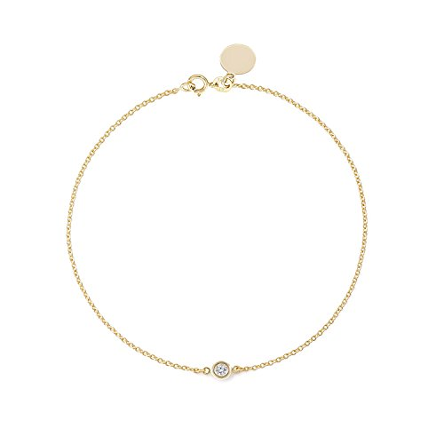 Tousi Solitaire Diamond Bracelet- Solid Yellow Gold-14K or 18K -Dainty and Simple Solitaire Bezel Set - Free Engraving - Graceful Gift- Minimalist Jewelry 14k Vs1 Bracelet