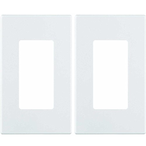 (Leviton 80301-SW 1-Gang Decora Plus Wallplate Screwless Snap-On Mount (2 Pack, White))