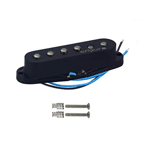 OriPure Single Coil Pickup Alnico 5 Staggered Guitar Strat Pickup Middle Position Bright Solid Sound-Black Cover (Middle Pickup)
