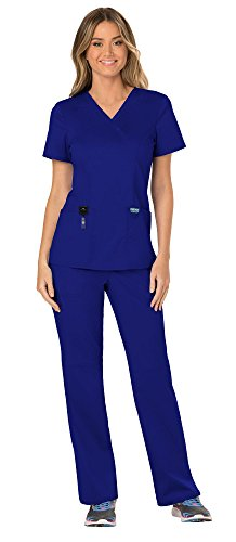 Cherokee Workwear Revolution Women's Medical Uniforms Scrubs Set Bundle - WW610 Mock Wrap Scrub Top & WW110 Pull On Scrub Pants & MS Badge Reel (Galaxy Blue - Small)