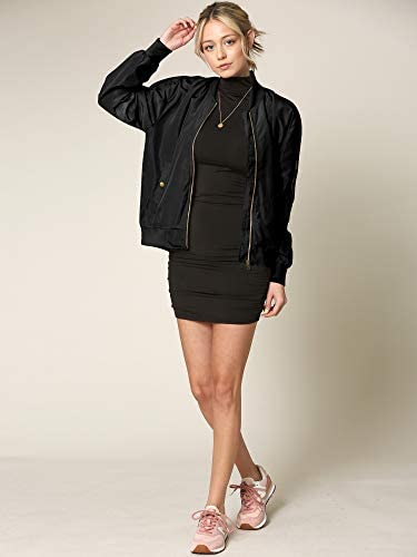 Made By Johnny Women's Classic Lightweight Jacket Multi Pocket Windbreaker Bomber Jacket