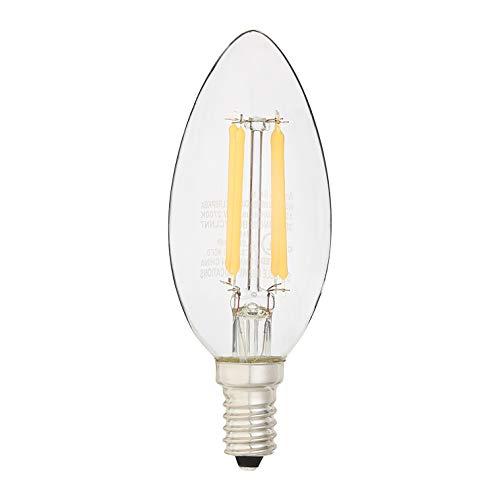 AmazonBasics 40 Watt Equivalent, All Glass, Dimmable, B11 LED Light Bulb | Soft White, 6-Pack