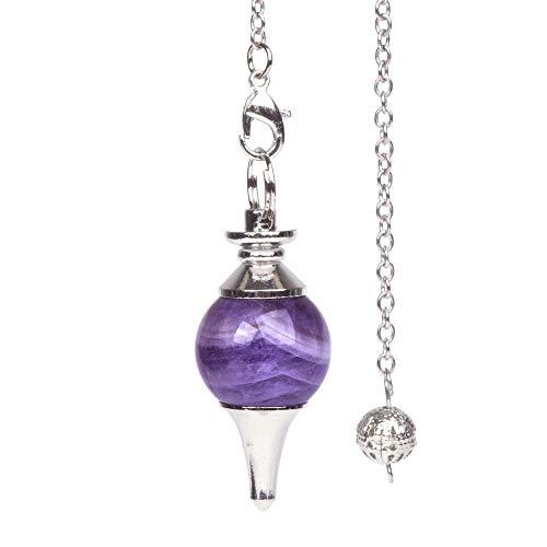 Natural African Amethyst Gemstone Dowsing 40mm Crystal Healing Chakra Reiki Point Pendulum (Best Pendulum For Divination)