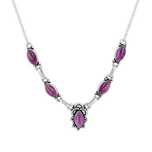 - 14.00ctw,Genuine Amethyst & 925 Silver Plated Necklace