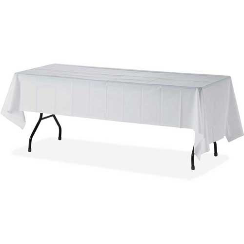 """12 Pack 54"""" X 108"""" Table Cover Premium Plastic Tablecloth for any Party or Event - WHITE"""