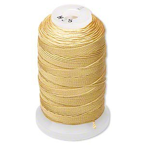 Simply Silk Beading Thread Cord Size E Gold 0.0128 Inch 0.325mm Spool 200 Yards for Stringing Weaving Knotting (Silk Sizes Thread)