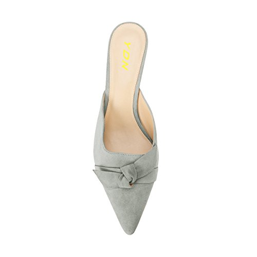 Slide Pumps with Pointed Sandals Toe Low YDN Womens Heels Slip Mules Bow Grey Chic Kitten on wcpq7wPtnW