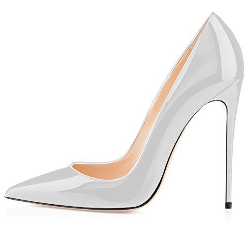 Hauts Chaussure Blanc 12cm Femmes Fermé Escarpins Bout Talon Talons Elashe Escarpin Aiguille Chaussures Stilettos Femme 5P8gWq6