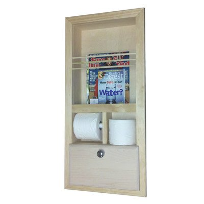 Recessed Magazine Rack with Double Toilet Paper and Storage Cubby by WG Wood Products