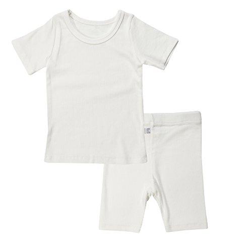 AVAUMA Newborn Baby Little Boys Snug-Fit Pajamas Summer Short Sets Pjs Kids Clothes (X-Large / 4T - 5T, White)