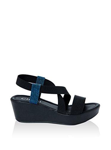 Chrigì Sandalias de cuña Negro / Azul EU 39
