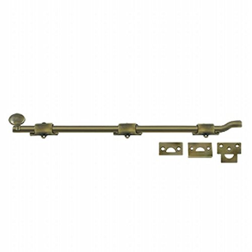 Deltana FPG185 18 in. Heavy Duty Surface Bolt with Off-set, Antique Brass - Solid Brass - 30 Case