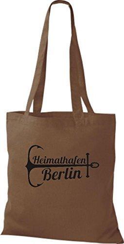 ShirtInStyle Bolsa de tela Bolsa de algodón Puerto Berlín marrón medio