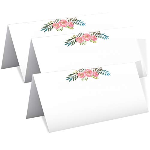 Antgiftshop 50 Table Place Cards, Fold Over Seating Place Cards for Weddings, Holidays, Dinner Parties, Birthdays, Buffets, Catering, Thanksgiving, Christmas, Easter Catering, Buffet Food - Description Card