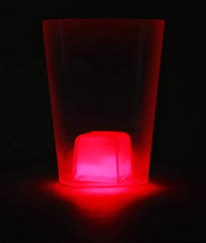 Fun Central (BC700), 6 Pcs 10.5 inches Red Glow Cube Cup, Glow in The Dark Ice Cube Drinkware, Glowing Cup with Ice Cube for Rave and Night Party, Go Red Party, Valentines Day Party -