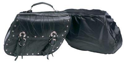 Diamond Plate 2pc Rock Design Genuine Buffalo Leather Motorcycle Saddlebag Set - Leather Studded Saddlebags
