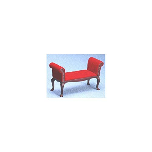 Classics Dollhouse Miniature Red & Mahogany Settee