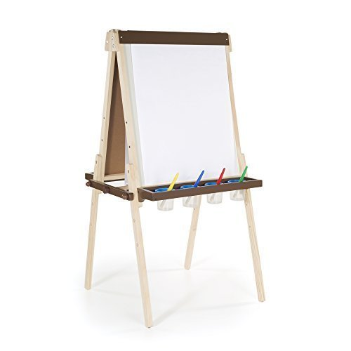 Guidecraft Wooden Floor Easel - Double-Sided Heavy-Duty Stand Up Easel and Chalkboard - Cart Art Guidecraft Supply