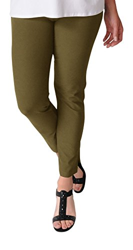 Eileen Fisher Olive Washable Stretch Crepe Slim Pant Large (L)