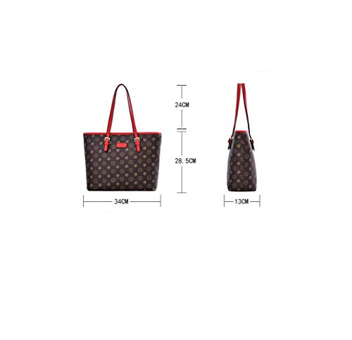 RFVBNM White Red Bag Shoulder Dimensional Slung Female Tote Flower Three pu Bag Handbags Large Space Fashion Women's anRar