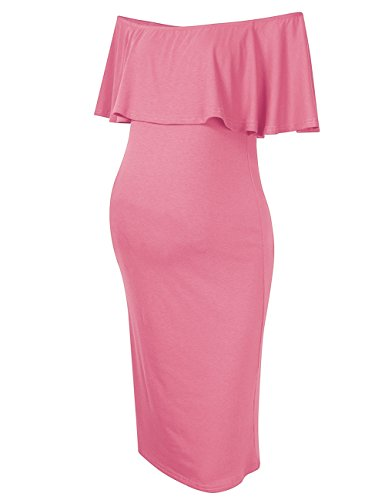 Coolmee Women's Maternity Dress Off Shoulder Casual Maxi Dress (L, Pink)