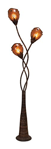 Benzara Metal Abaca Floor Lamp A Decorative Light Sculpture