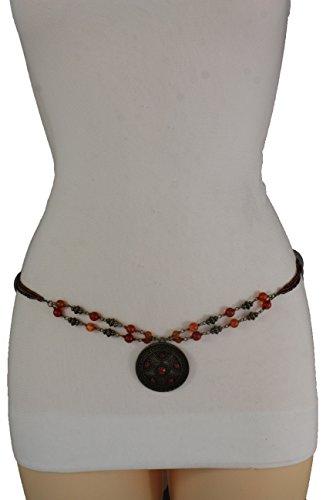 TFJ Women Brown Beads Tie Fashion Bohemian Belt Hip Waist Antique Gold Charm S M L (Halloween Night In Vegas 2017)