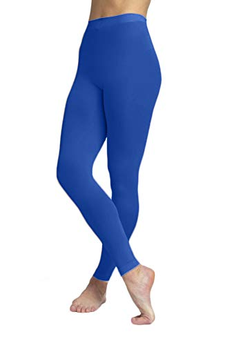 Microfiber Running Tights - EMEM Apparel Women's Ladies Solid Colored Seamless Opaque Dance Ballet Costume Full Length Microfiber Footless Tights Leggings Stockings Royal Blue D