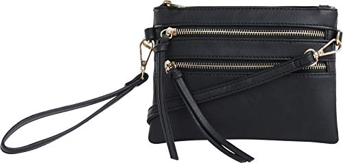 DELUXITY Everyday Multi-Pocket Crossbody Bag with Removable Wristlet and Strap