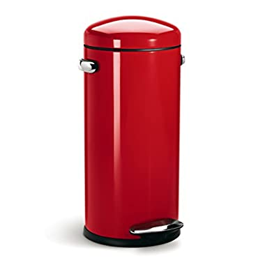 simplehuman Round Retro Step Trash Can, Red Steel, 30 L / 8 Gal